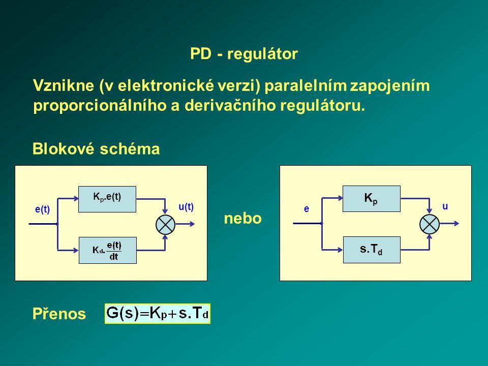 s.T d e u KpKp PD - regulátor Vznikne (v elektronické verzi) paralelním zapojením proporcionálního a derivačního regulátoru. Blokové schéma nebo e(t)