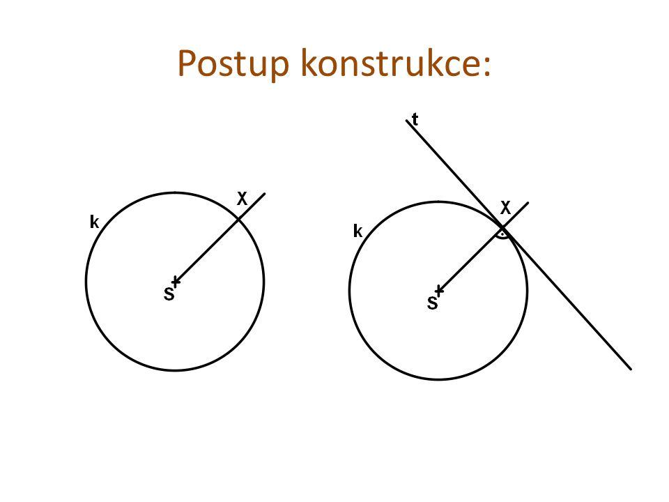 Tečna z nevlastního bodu: Sestroj kružnici k(S; r = 3,5 cm) a bod A, který je od středu S vzdálen 8 cm.