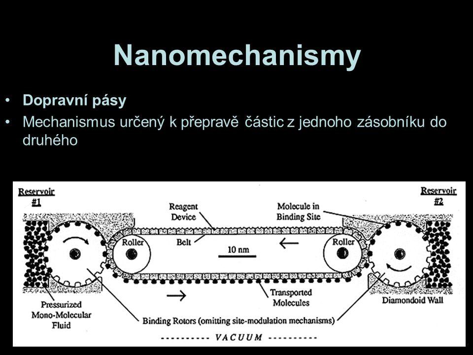 Nanomechanismy Dopravní pásy Mechanismus určený k přepravě částic z jednoho zásobníku do druhého