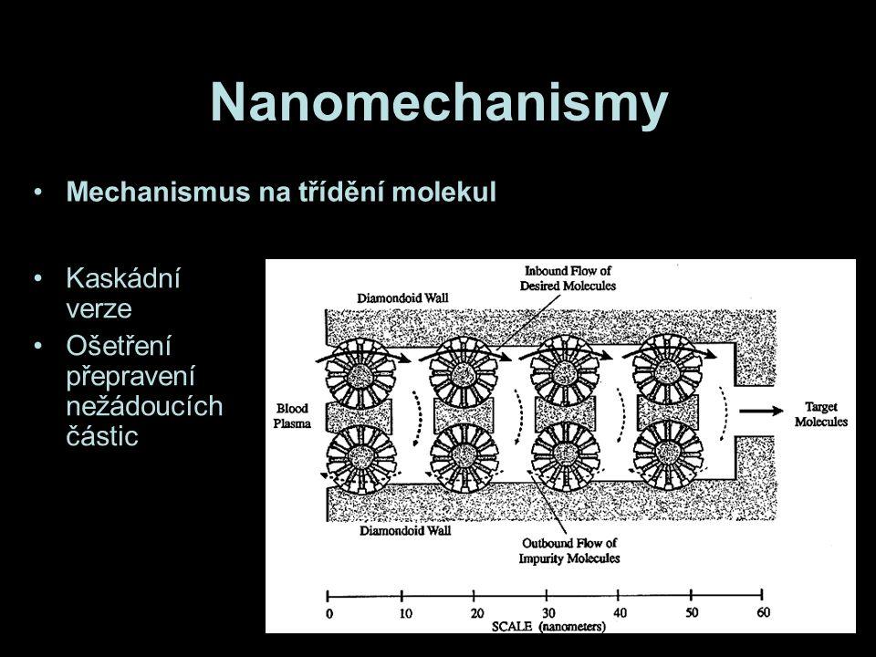 Nanomechanismy Mechanismus na třídění molekul Kaskádní verze Ošetření přepravení nežádoucích částic