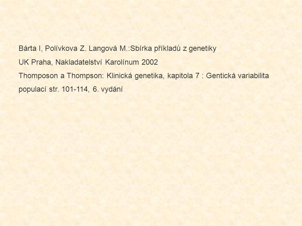 Bárta I, Polívkova Z. Langová M.:Sbírka příkladů z genetiky UK Praha, Nakladatelství Karolínum 2002 Thomposon a Thompson: Klinická genetika, kapitola