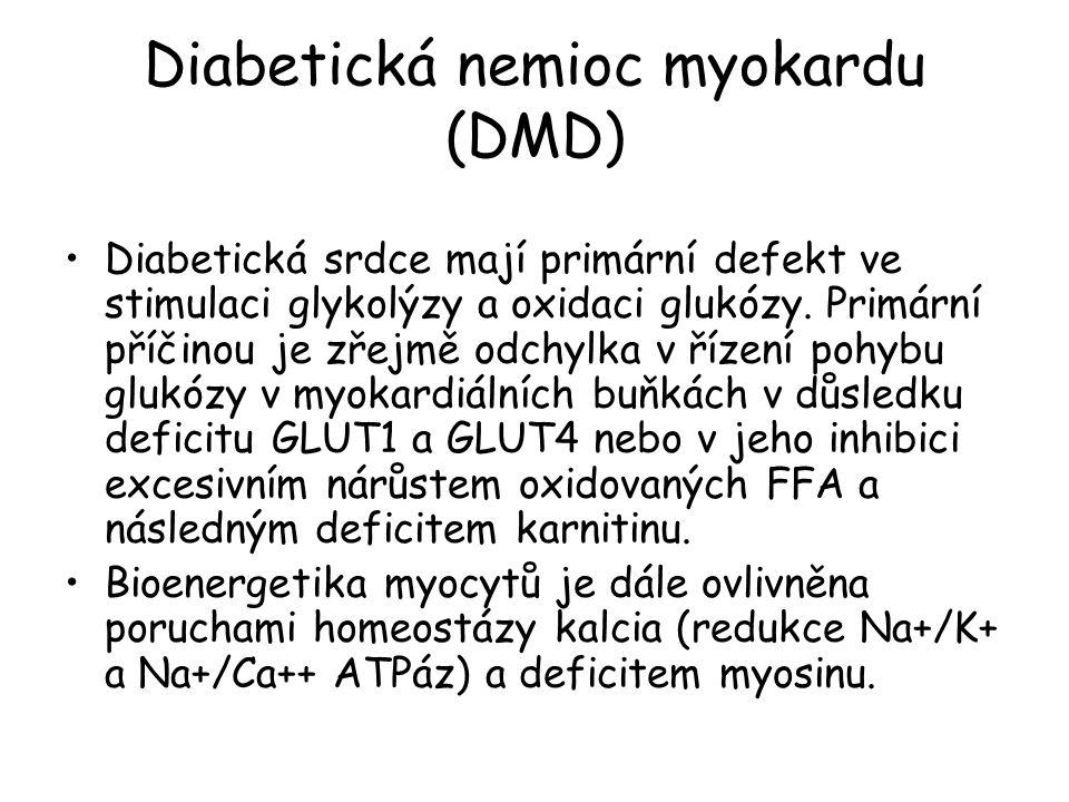 Diabetická nemioc myokardu (DMD) Diabetická srdce mají primární defekt ve stimulaci glykolýzy a oxidaci glukózy.