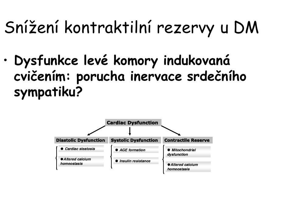 Snížení kontraktilní rezervy u DM Dysfunkce levé komory indukovaná cvičením: porucha inervace srdečního sympatiku?