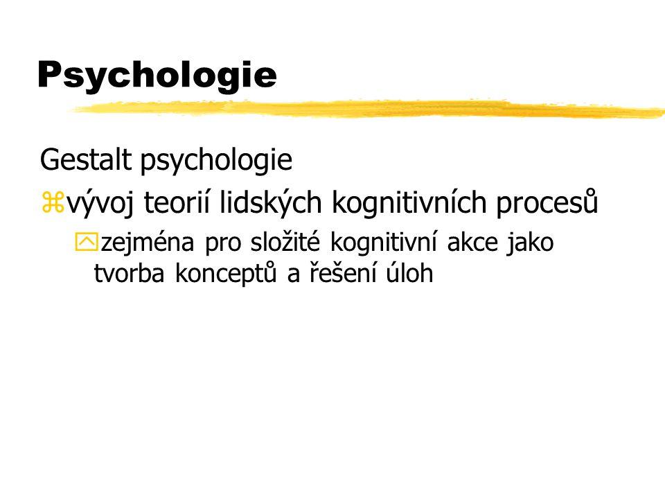 Psychologie Gestalt psychologie zvývoj teorií lidských kognitivních procesů yzejména pro složité kognitivní akce jako tvorba konceptů a řešení úloh