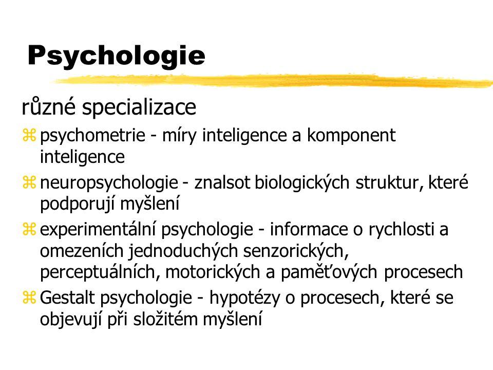 Psychologie různé specializace zpsychometrie - míry inteligence a komponent inteligence zneuropsychologie - znalsot biologických struktur, které podpo