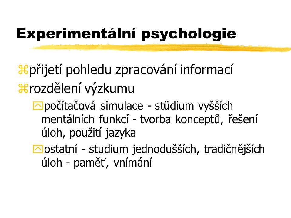 Experimentální psychologie zpřijetí pohledu zpracování informací zrozdělení výzkumu ypočítačová simulace - stüdium vyšších mentálních funkcí - tvorba