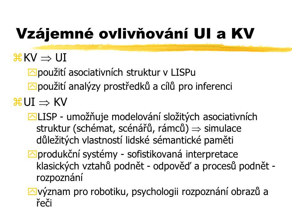 Vzájemné ovlivňování UI a KV zKV  UI ypoužití asociativních struktur v LISPu ypoužití analýzy prostředků a cílů pro inferenci zUI  KV yLISP - umožňu