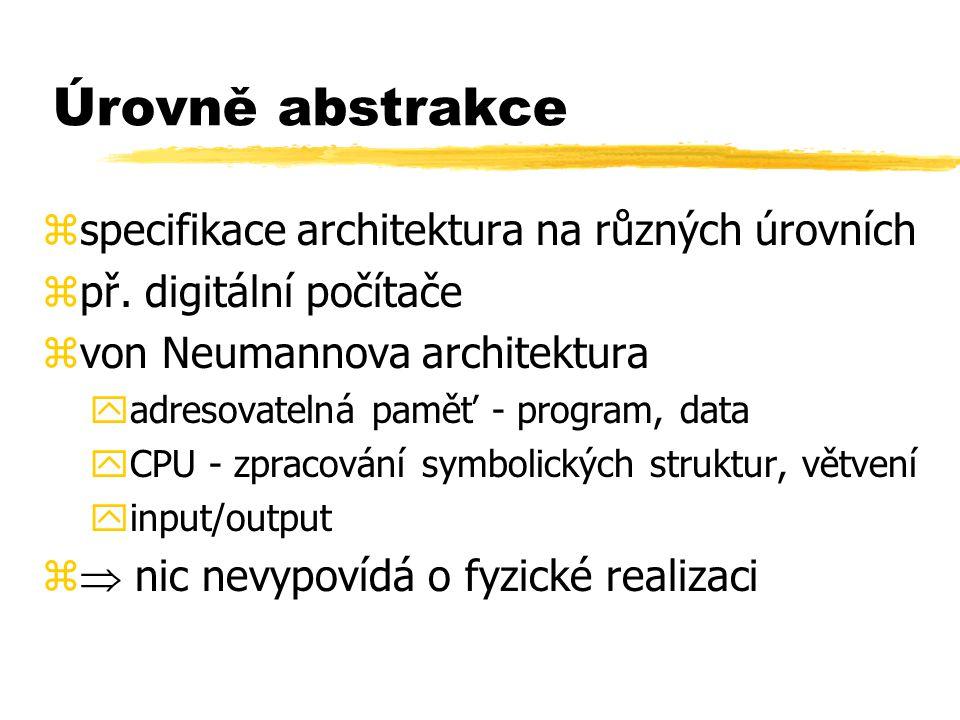 Úrovně abstrakce zspecifikace architektura na různých úrovních zpř. digitální počítače zvon Neumannova architektura yadresovatelná paměť - program, da