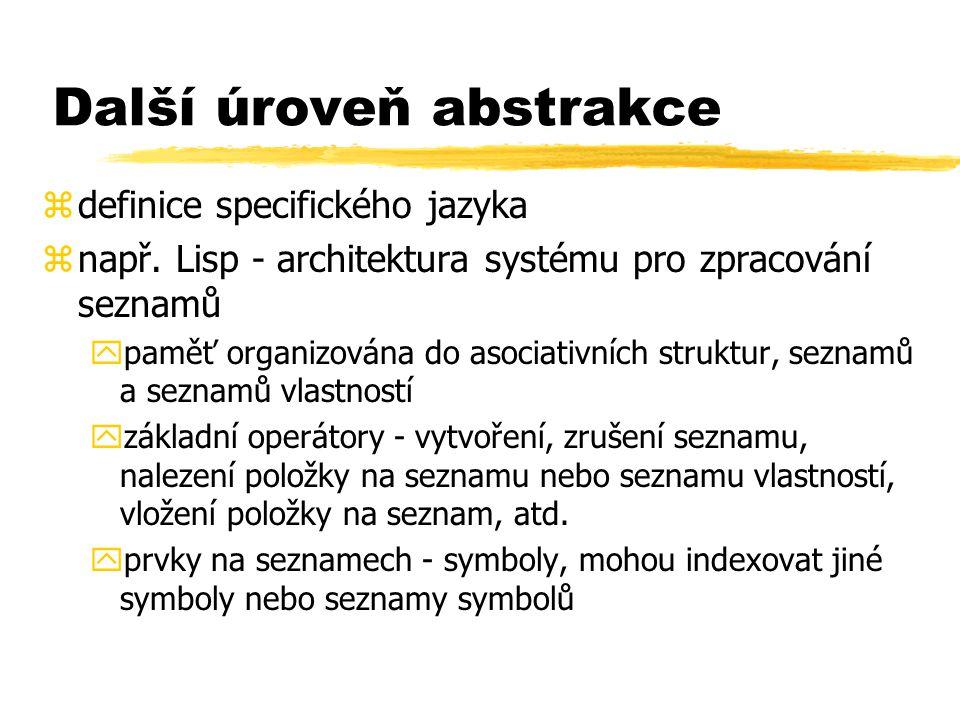 Další úroveň abstrakce zdefinice specifického jazyka znapř. Lisp - architektura systému pro zpracování seznamů ypaměť organizována do asociativních st