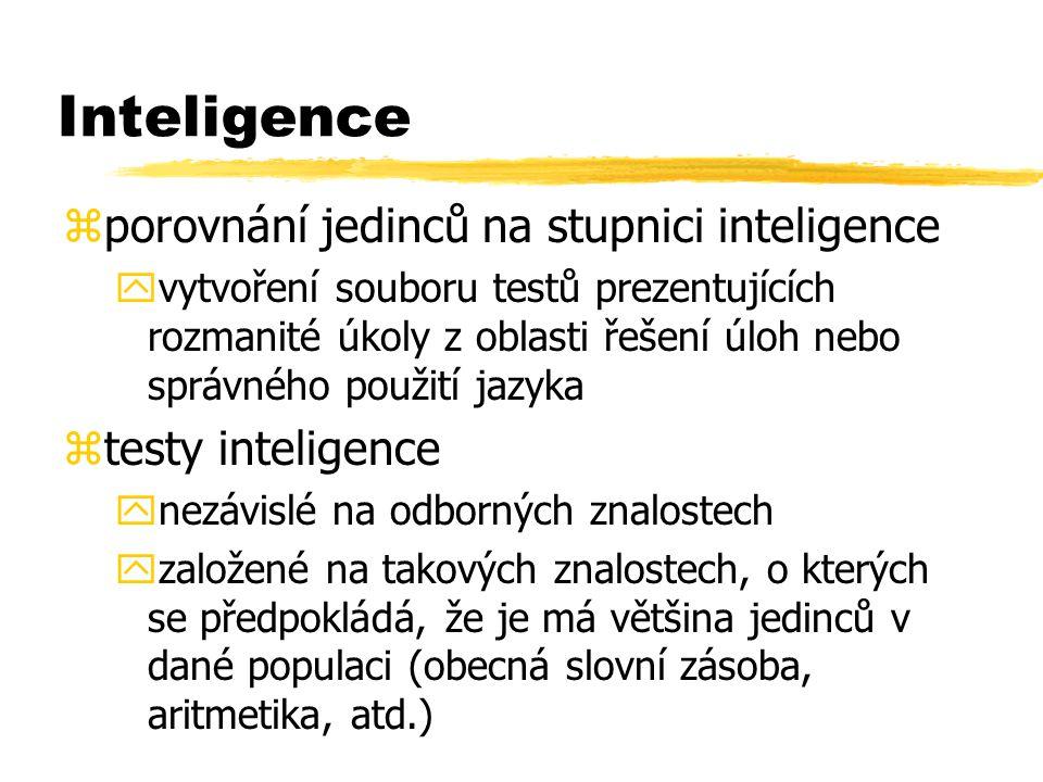 Inteligence zporovnání jedinců na stupnici inteligence yvytvoření souboru testů prezentujících rozmanité úkoly z oblasti řešení úloh nebo správného po