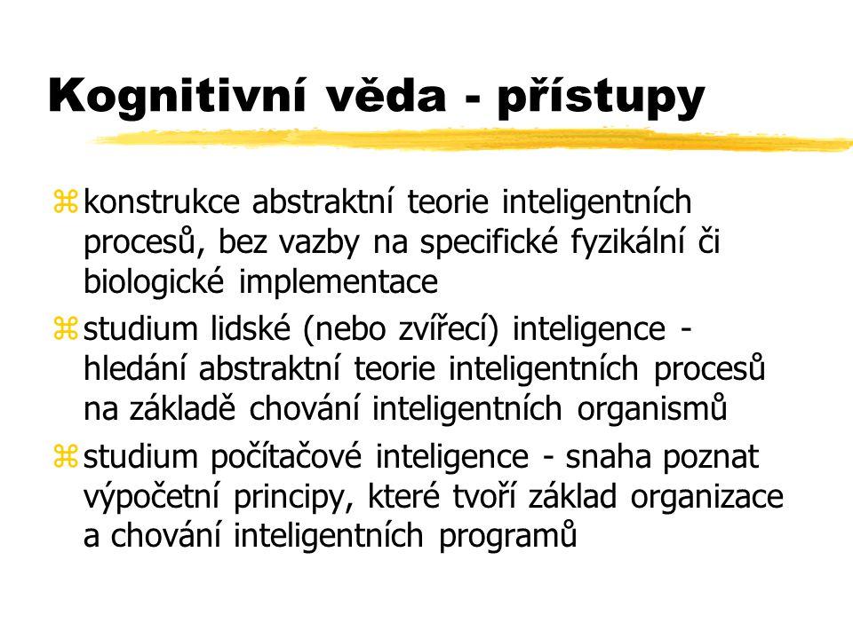Kognitivní věda - přístupy zkonstrukce abstraktní teorie inteligentních procesů, bez vazby na specifické fyzikální či biologické implementace zstudium