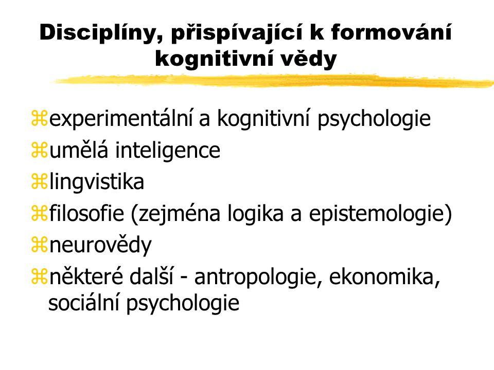 Disciplíny, přispívající k formování kognitivní vědy zexperimentální a kognitivní psychologie zumělá inteligence zlingvistika zfilosofie (zejména logi