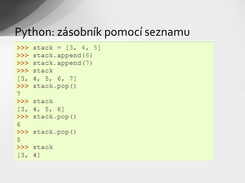 Python: zásobník pomocí seznamu