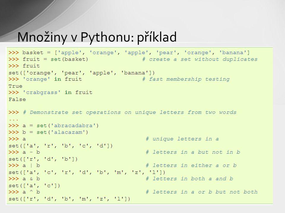 Množiny v Pythonu: příklad