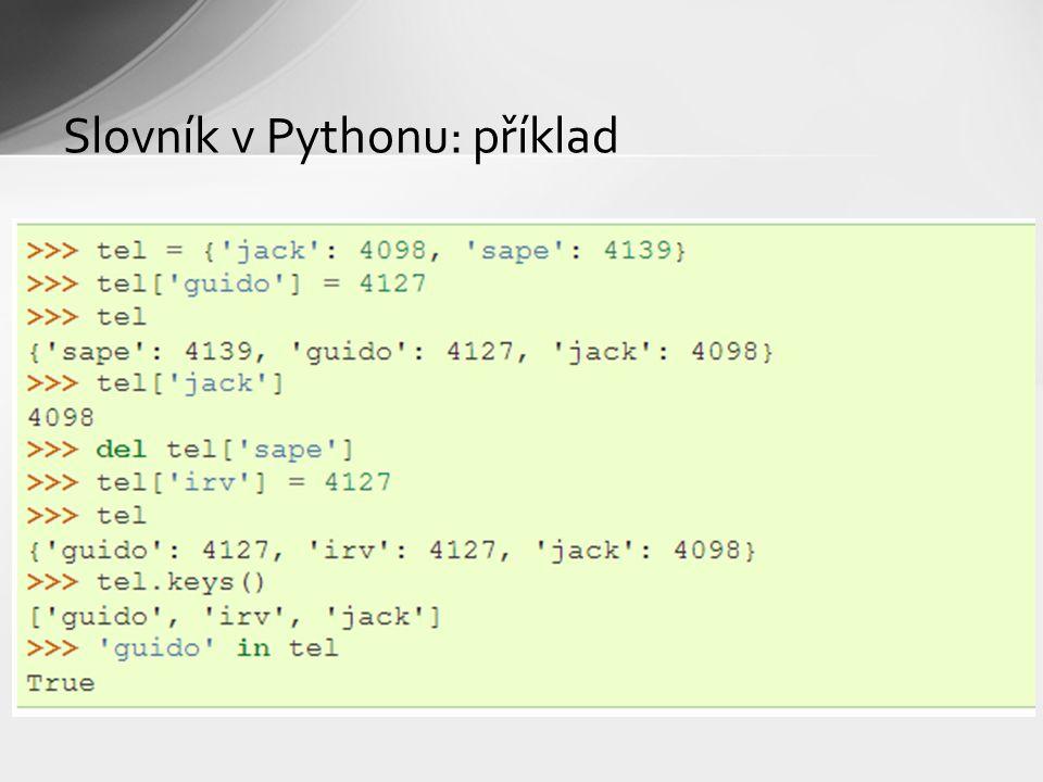 Slovník v Pythonu: příklad