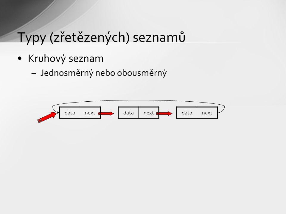Kruhový seznam –Jednosměrný nebo obousměrný Typy (zřetězených) seznamů datanext datanextdatanext