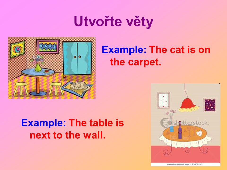 Utvořte věty Example: The cat is on the carpet. Example: The table is next to the wall.