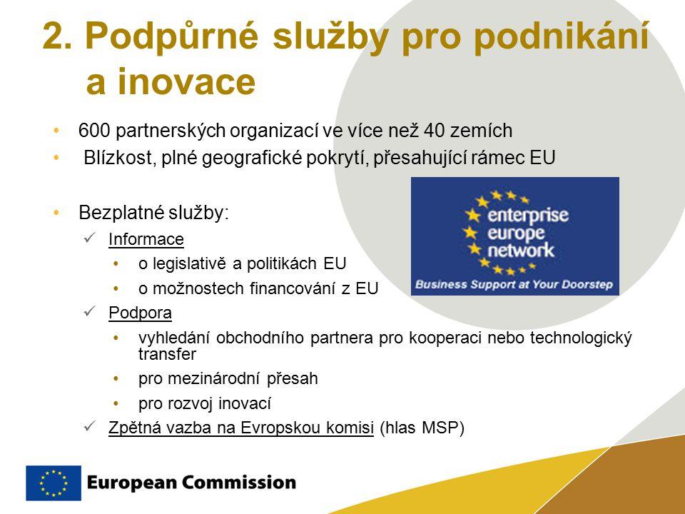 2. Podpůrné služby pro podnikání a inovace 600 partnerských organizací ve více než 40 zemích Blízkost, plné geografické pokrytí, přesahující rámec EU