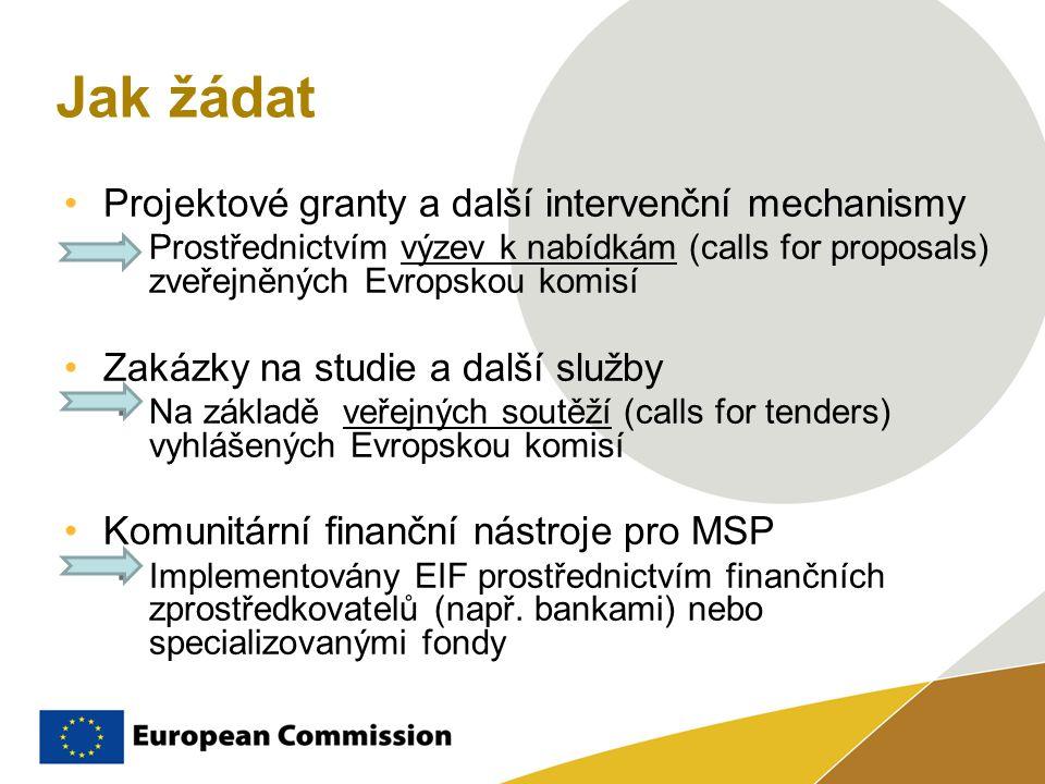 Jak žádat Projektové granty a další intervenční mechanismy  Prostřednictvím výzev k nabídkám (calls for proposals) zveřejněných Evropskou komisí Zakázky na studie a další služby  Na základě veřejných soutěží (calls for tenders) vyhlášených Evropskou komisí Komunitární finanční nástroje pro MSP  Implementovány EIF prostřednictvím finančních zprostředkovatelů (např.