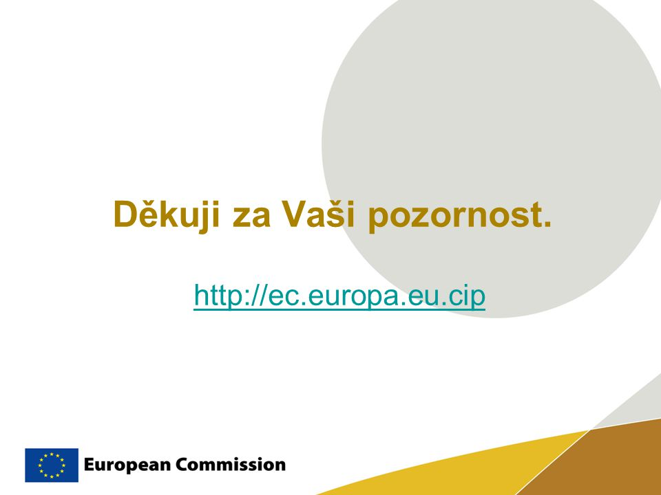 Děkuji za Vaši pozornost. http://ec.europa.eu.cip