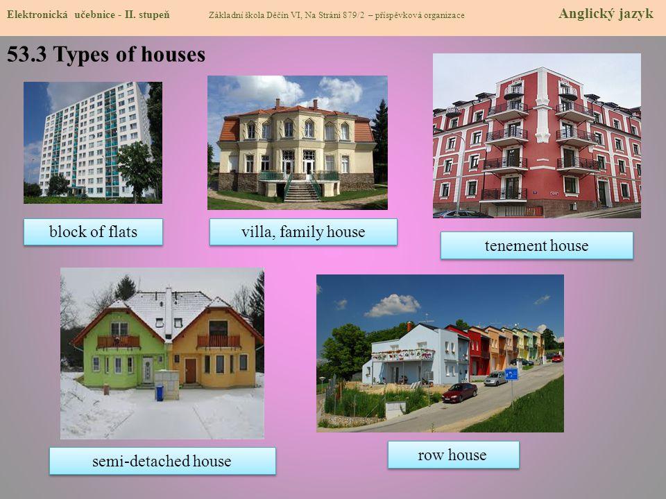 53.3 Types of houses Elektronická učebnice - II. stupeň Základní škola Děčín VI, Na Stráni 879/2 – příspěvková organizace Anglický jazyk block of flat