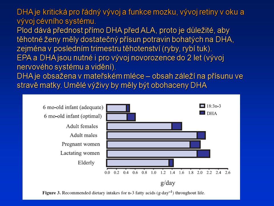DHA je kritická pro řádný vývoj a funkce mozku, vývoj retiny v oku a vývoj cévního systému. Plod dává přednost přímo DHA před ALA, proto je důležité,
