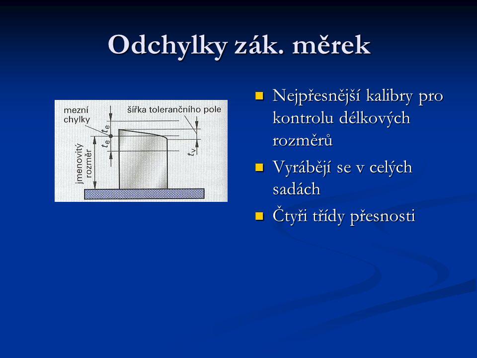 Odchylky zák. měrek Nejpřesnější kalibry pro kontrolu délkových rozměrů Nejpřesnější kalibry pro kontrolu délkových rozměrů Vyrábějí se v celých sadác