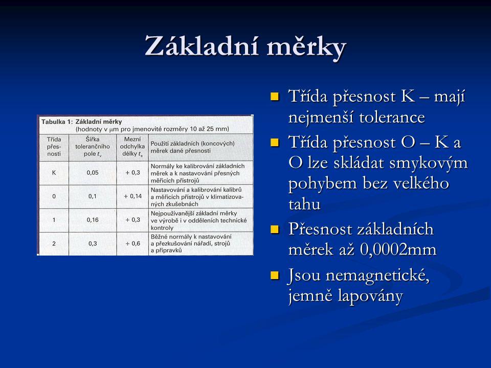 Základní měrky Třída přesnost K – mají nejmenší tolerance Třída přesnost K – mají nejmenší tolerance Třída přesnost O – K a O lze skládat smykovým poh