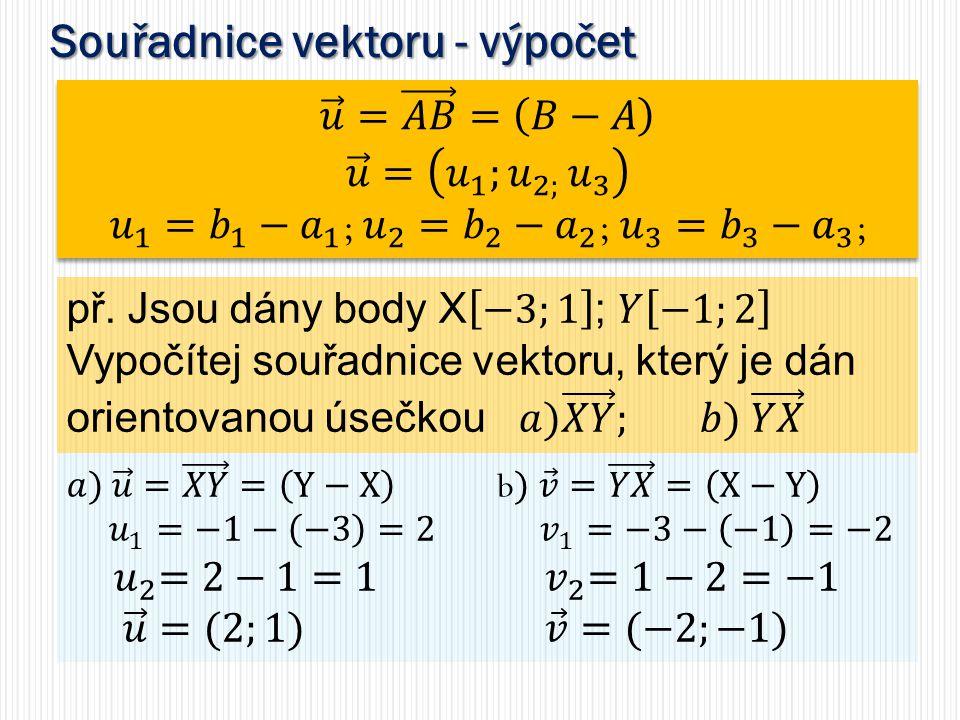 Souřadnice vektoru - výpočet
