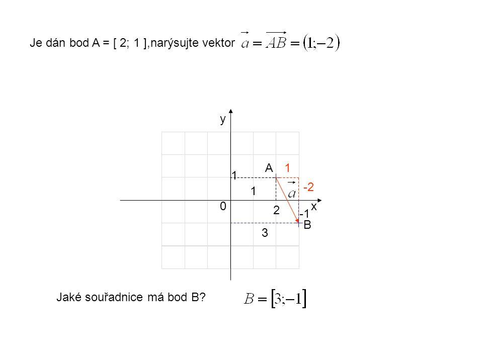 x y 1 1 0 Je dán bod A = [ 2; 1 ],narýsujte vektor 2 A1 -2 Jaké souřadnice má bod B B 3
