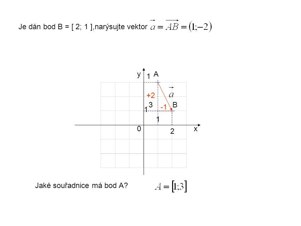 x y 1 1 0 Je dán bod B = [ 2; 1 ],narýsujte vektor 2 B +2 Jaké souřadnice má bod A A 1 3