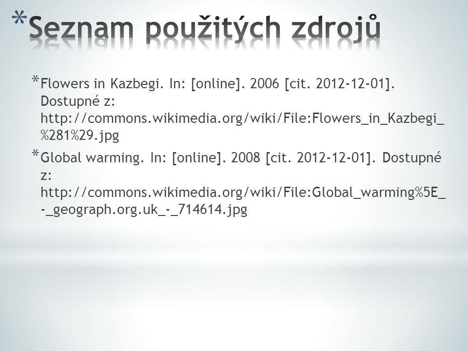 * Flowers in Kazbegi. In: [online]. 2006 [cit. 2012-12-01]. Dostupné z: http://commons.wikimedia.org/wiki/File:Flowers_in_Kazbegi_ %281%29.jpg * Globa