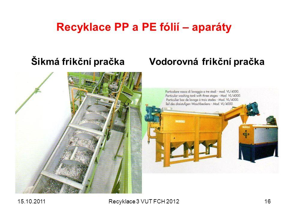 Recyklace PP a PE fólií – aparáty Šikmá frikční pračkaVodorovná frikční pračka 15.10.2011Recyklace 3 VUT FCH 201216