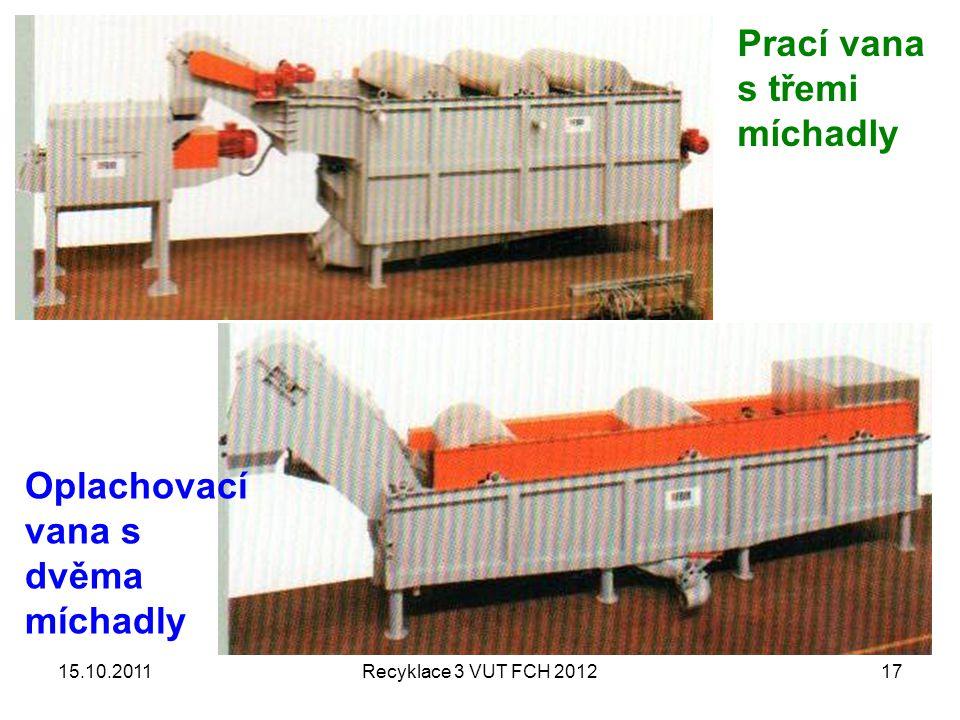 15.10.2011Recyklace 3 VUT FCH 201217 Prací vana s třemi míchadly Oplachovací vana s dvěma míchadly