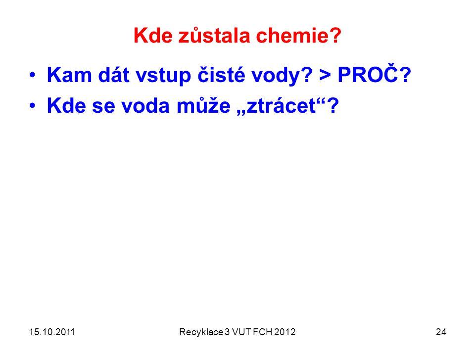 """Kde zůstala chemie? Kam dát vstup čisté vody? > PROČ? Kde se voda může """"ztrácet""""? 15.10.2011Recyklace 3 VUT FCH 201224"""