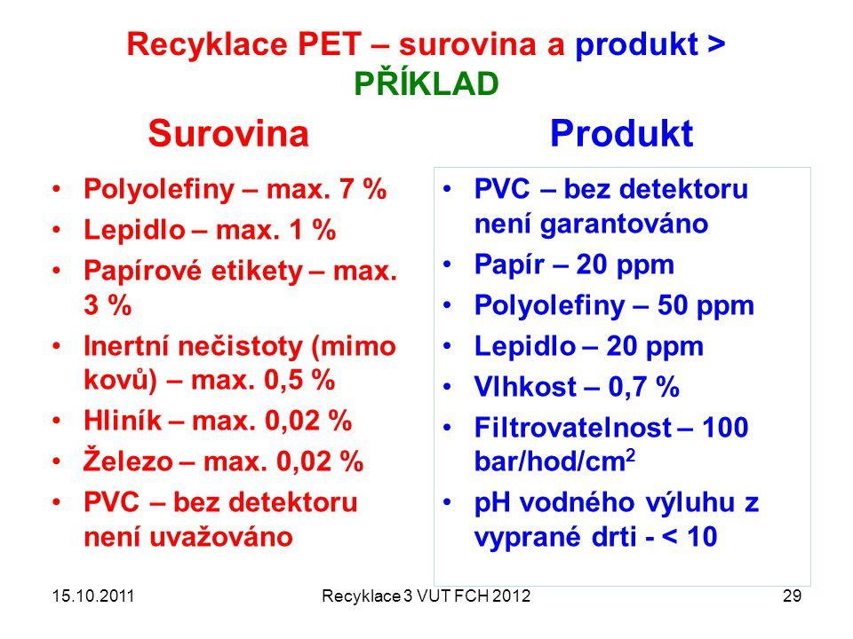 Recyklace PET – surovina a produkt > PŘÍKLAD Surovina Polyolefiny – max. 7 % Lepidlo – max. 1 % Papírové etikety – max. 3 % Inertní nečistoty (mimo ko