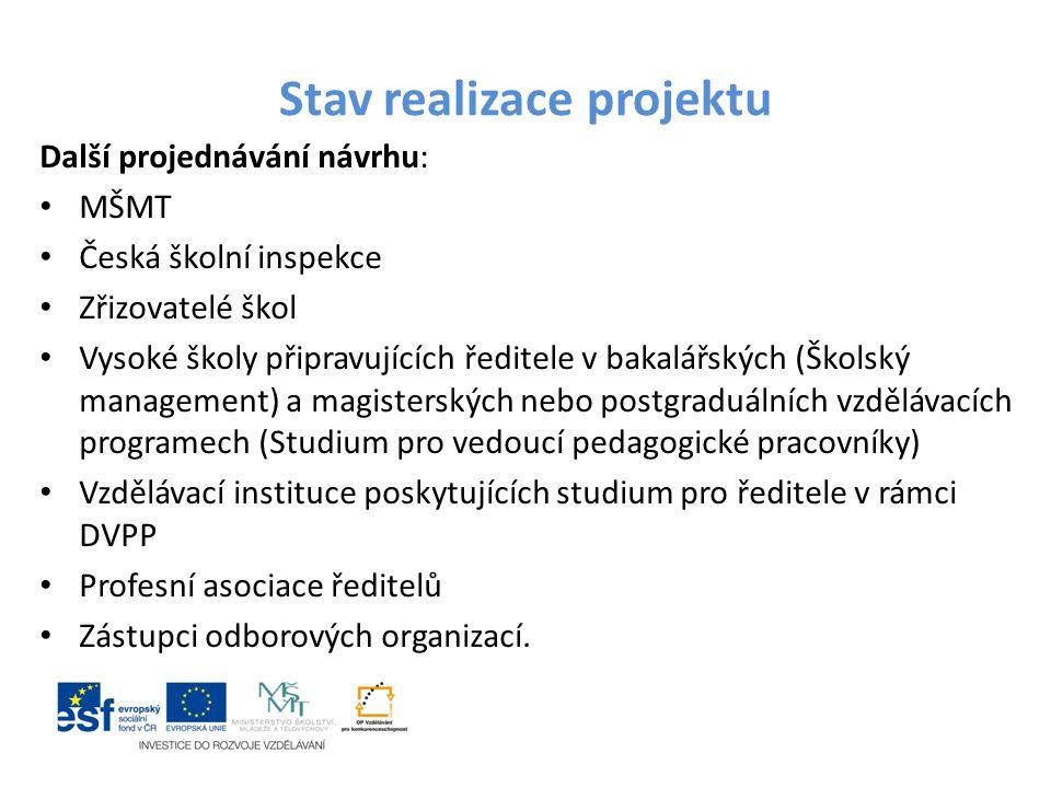 Stav realizace projektu Další projednávání návrhu: MŠMT Česká školní inspekce Zřizovatelé škol Vysoké školy připravujících ředitele v bakalářských (Šk