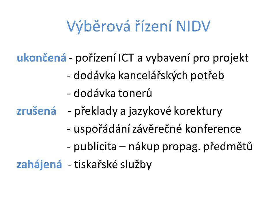 Výběrová řízení NIDV ukončená - pořízení ICT a vybavení pro projekt - dodávka kancelářských potřeb - dodávka tonerů zrušená - překlady a jazykové kore