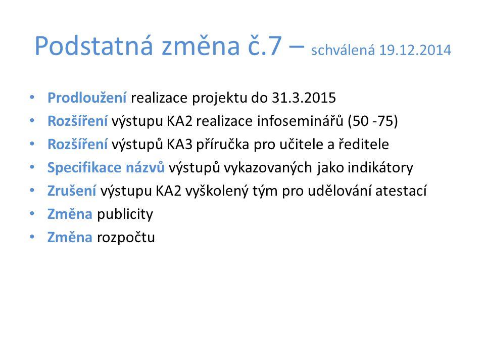 Podstatná změna č.7 – schválená 19.12.2014 Prodloužení realizace projektu do 31.3.2015 Rozšíření výstupu KA2 realizace infoseminářů (50 -75) Rozšíření
