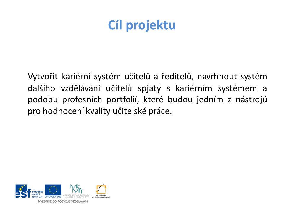 Cíl projektu Vytvořit kariérní systém učitelů a ředitelů, navrhnout systém dalšího vzdělávání učitelů spjatý s kariérním systémem a podobu profesních