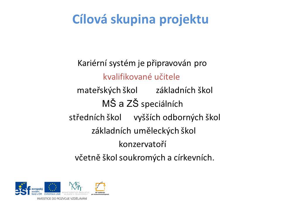 Cílová skupina projektu Kariérní systém je připravován pro kvalifikované učitele mateřských škol základních škol MŠ a ZŠ speciálních středních škol vy