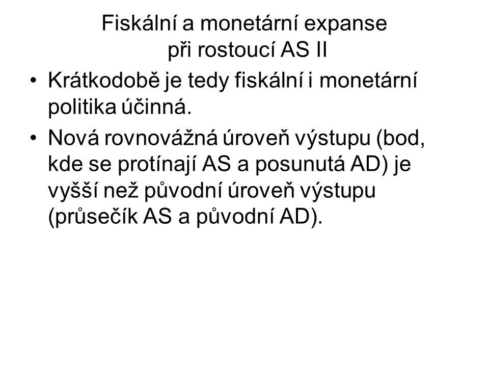 Fiskální a monetární expanse při rostoucí AS II Krátkodobě je tedy fiskální i monetární politika účinná. Nová rovnovážná úroveň výstupu (bod, kde se p