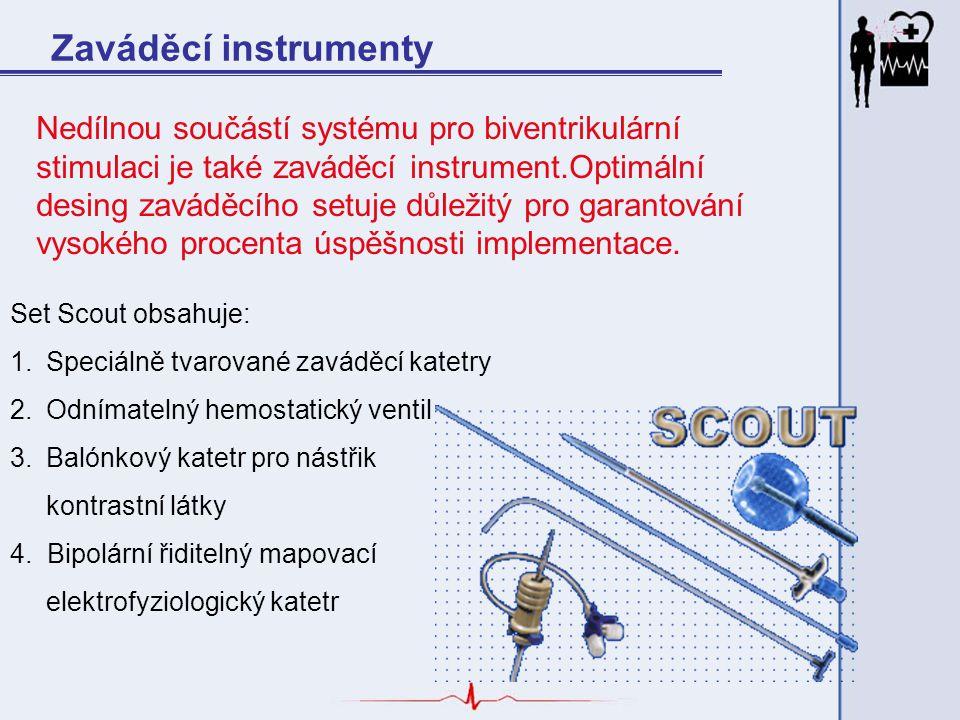Zaváděcí instrumenty Nedílnou součástí systému pro biventrikulární stimulaci je také zaváděcí instrument.Optimální desing zaváděcího setuje důležitý p