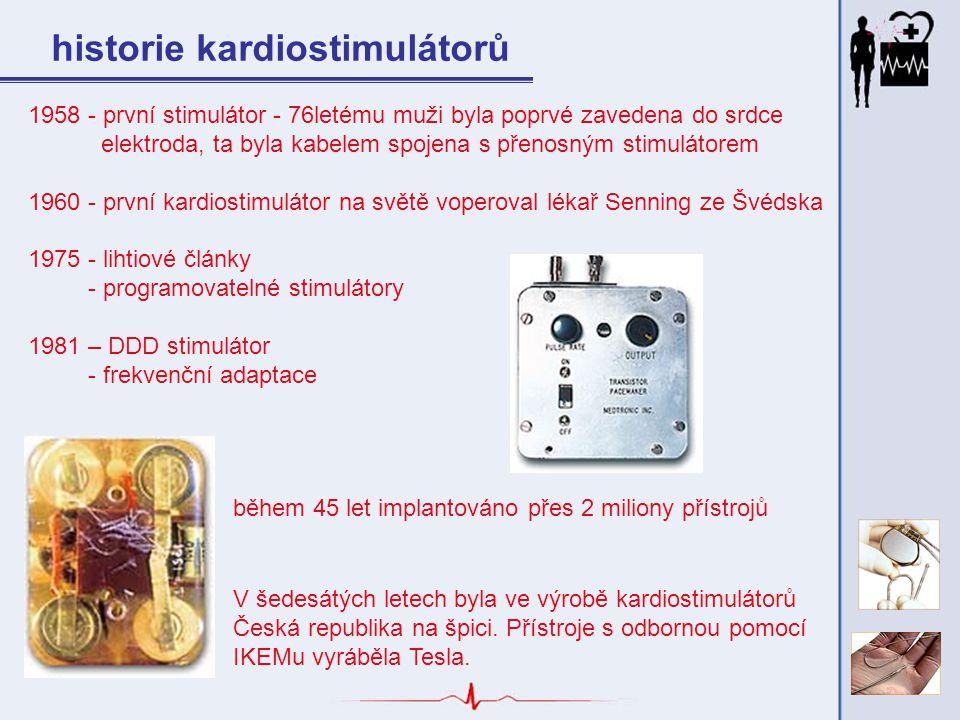 historie kardiostimulátorů V šedesátých letech byla ve výrobě kardiostimulátorů Česká republika na špici. Přístroje s odbornou pomocí IKEMu vyráběla T