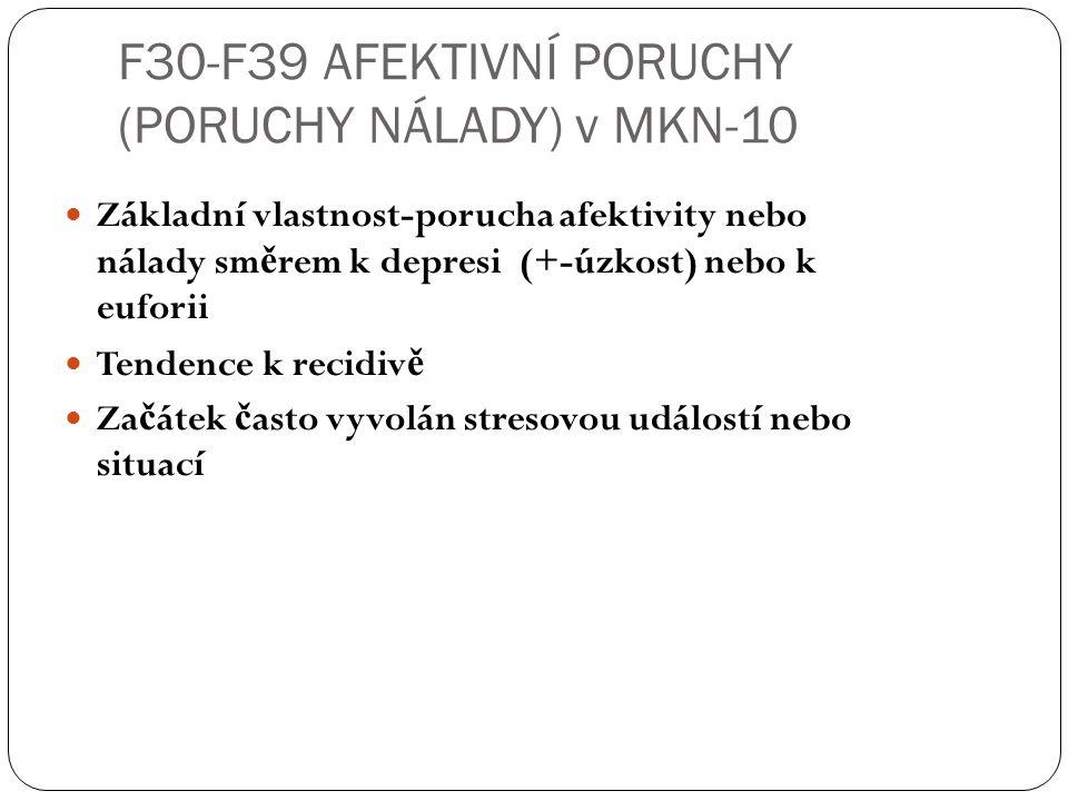F30-F39 AFEKTIVNÍ PORUCHY (PORUCHY NÁLADY) v MKN-10 Základní vlastnost-porucha afektivity nebo nálady sm ě rem k depresi (+-úzkost) nebo k euforii Ten