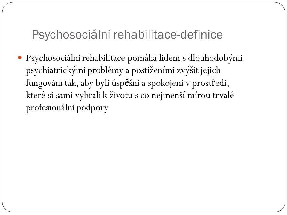 Psychosociální rehabilitace-definice Psychosociální rehabilitace pomáhá lidem s dlouhodobými psychiatrickými problémy a postiženími zvýšit jejich fung