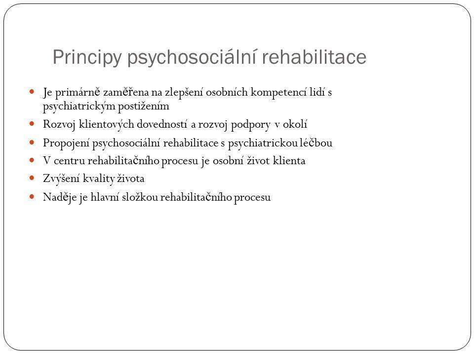 Principy psychosociální rehabilitace Je primárn ě zam ěř ena na zlepšení osobních kompetencí lidí s psychiatrickým postižením Rozvoj klientových doved