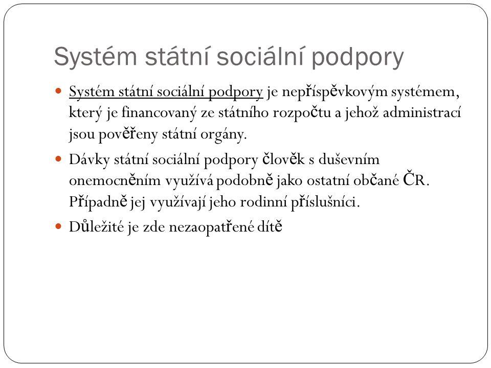 Systém státní sociální podpory Systém státní sociální podpory je nep ř ísp ě vkovým systémem, který je financovaný ze státního rozpo č tu a jehož admi