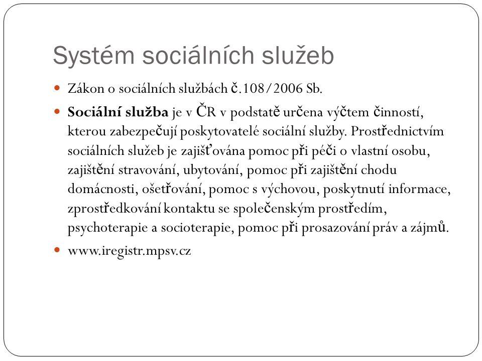 Systém sociálních služeb Zákon o sociálních službách č.108/2006 Sb. Sociální služba je v Č R v podstat ě ur č ena vý č tem č inností, kterou zabezpe č