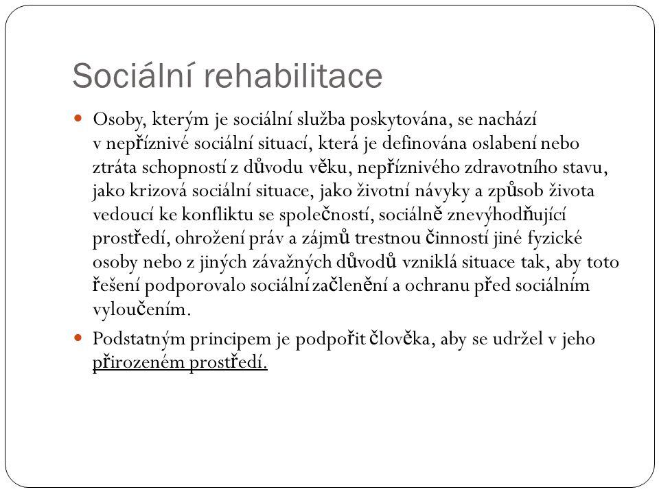Sociální rehabilitace Osoby, kterým je sociální služba poskytována, se nachází v nep ř íznivé sociální situací, která je definována oslabení nebo ztrá